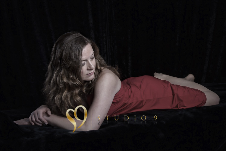 Glamour portrait in red dress