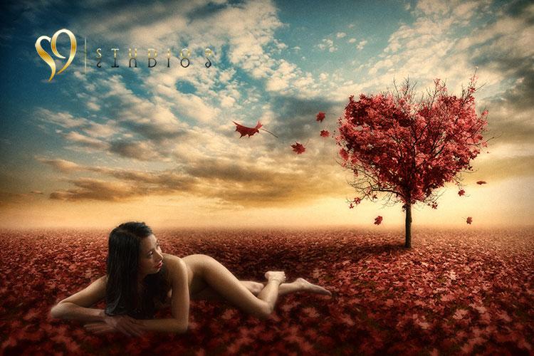 Fantasy photoshop boudoir and nude image