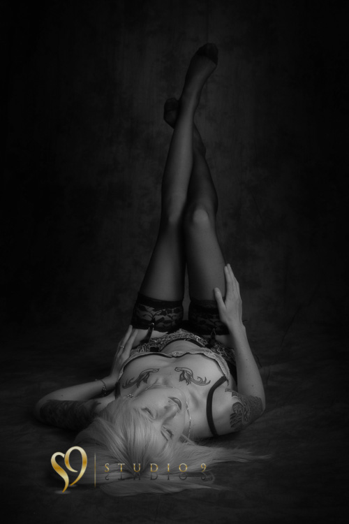 Black and white boudoir portrait