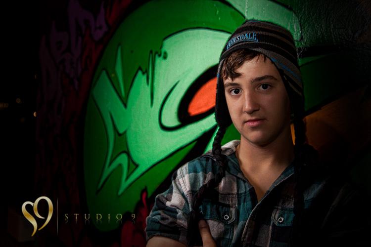 Alternative portraits at night in skate park.