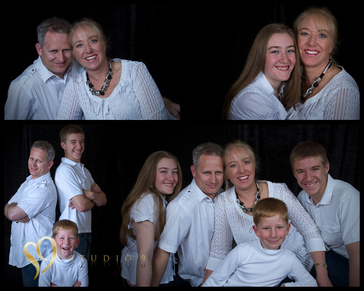 Fun family portraits displayed in a multi print collage.