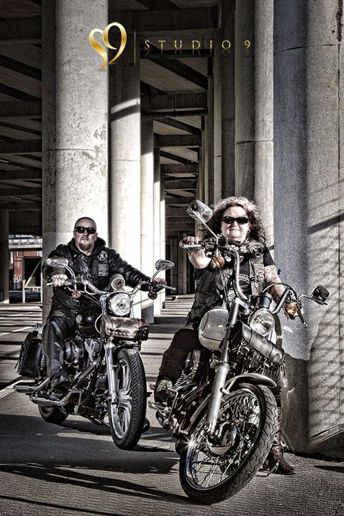 Alternative portraits with Wellington bikers.