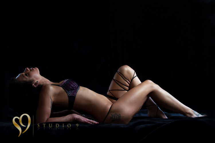 Lingerie model photo shoot at Wellington studio.