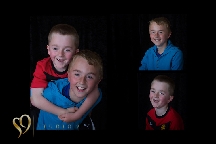 Brothers having fun at the studio photo shoot.