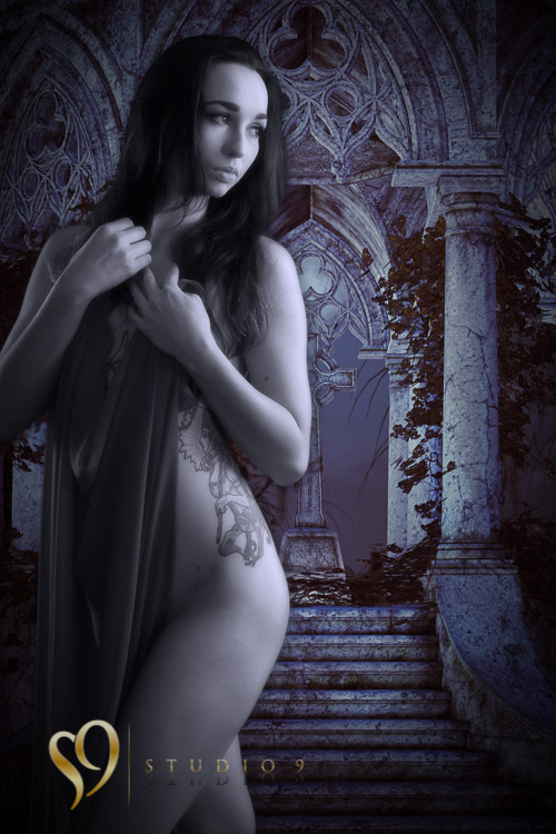 Nude portrait with gothic background