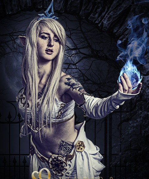 janna league of legends cosplay with blue fireball.