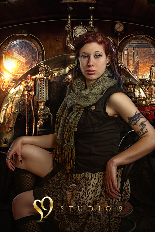 Glamour portrait and steam punk photo edit by Studio9 and Barbara Hall.